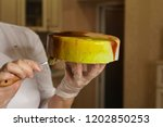 mousse cake pear bri sherry.... | Shutterstock . vector #1202850253