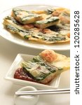 Small photo of Korean cuisine, jijim leek and shrimp pan cake with spicy sauce