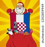 santa claus gets national flag... | Shutterstock .eps vector #1202859949