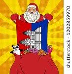 santa claus gets national flag... | Shutterstock .eps vector #1202859970