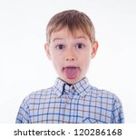 small boy is showing his tongue | Shutterstock . vector #120286168