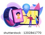 parents looking at child... | Shutterstock .eps vector #1202861770