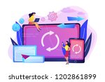 user with laptop and smartphone ... | Shutterstock .eps vector #1202861899