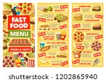 fast food menu templates vector.... | Shutterstock .eps vector #1202865940