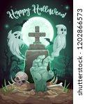 halloween horror night cemetery ... | Shutterstock .eps vector #1202866573