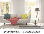 idea of white room with sofa... | Shutterstock . vector #1202870236
