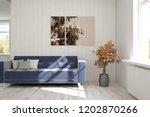 white modern room with sofa.... | Shutterstock . vector #1202870266