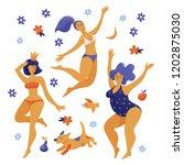 three happy women dancing in... | Shutterstock .eps vector #1202875030