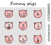 funny pigs. doodle animal faces ... | Shutterstock .eps vector #1202888800