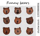 funny bears. doodle animal... | Shutterstock .eps vector #1202888806