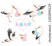 stork with baby. cute bird... | Shutterstock .eps vector #1202890129