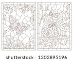 set of contour illustrations of ... | Shutterstock .eps vector #1202895196