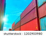 stack of containers box  cargo...   Shutterstock . vector #1202903980