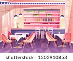 vector cartoon cafe with bar... | Shutterstock .eps vector #1202910853
