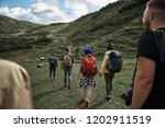 group of six hikers climbing on ... | Shutterstock . vector #1202911519