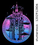 magic medieval castle tattoo... | Shutterstock .eps vector #1202912806