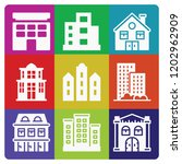apartment 9 filled icon set... | Shutterstock .eps vector #1202962909