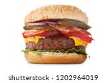 burger with beef and vegetables ... | Shutterstock . vector #1202964019