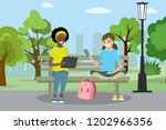 two teen girls with gadgets are ...   Shutterstock .eps vector #1202966356
