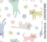 childish seamless pattern with... | Shutterstock .eps vector #1202969380
