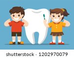 smiling kids standing next to... | Shutterstock .eps vector #1202970079