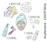 stages of facial skin care. a... | Shutterstock .eps vector #1202973016