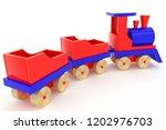3d rendering wooden toy train... | Shutterstock . vector #1202976703