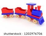 3d rendering wooden toy train... | Shutterstock . vector #1202976706