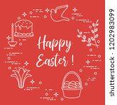 easter symbols. easter cake ... | Shutterstock .eps vector #1202983099