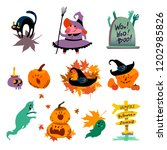 collection of flat halloween... | Shutterstock .eps vector #1202985826