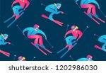 winter sport seamless pattern.... | Shutterstock .eps vector #1202986030