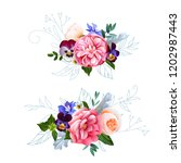 cute bouquets for greeting cards | Shutterstock .eps vector #1202987443