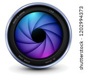 camera photo lens with shutter  ... | Shutterstock .eps vector #1202994373