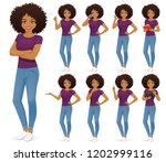 african woman in jeans set with ...