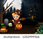 happy little witch holding...   Shutterstock .eps vector #1202999566