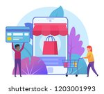 mobile  online shopping. small...   Shutterstock .eps vector #1203001993
