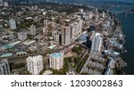 Aerial view of downtown New Westminster in Vancouver, BC, Canada