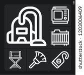set of 6 room outline icons... | Shutterstock .eps vector #1203006409