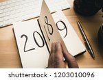 new year 2019 is coming concept.... | Shutterstock . vector #1203010096