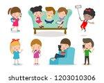 kids with gadgets  kids... | Shutterstock .eps vector #1203010306