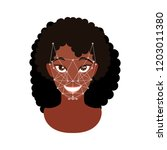 face recognition. woman face.... | Shutterstock .eps vector #1203011380