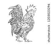 rooster line vector | Shutterstock .eps vector #1203023296