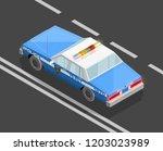 flat 3d isometric police car... | Shutterstock .eps vector #1203023989