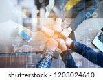 business advisory team analyzes ... | Shutterstock . vector #1203024610