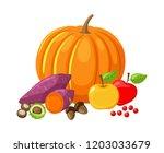 pumpkin and beetroot  ripe lush ... | Shutterstock .eps vector #1203033679
