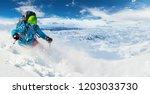 Alpine Freeride Skier Skiing...