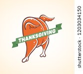 funny roasted turkey icon... | Shutterstock .eps vector #1203034150