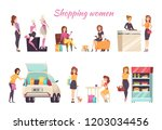 shopping women poster text with ... | Shutterstock .eps vector #1203034456