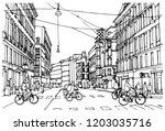 scene street illustration. hand ... | Shutterstock .eps vector #1203035716