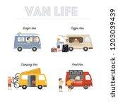 van life. vintage vans used by... | Shutterstock .eps vector #1203039439
